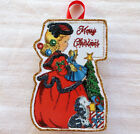 Glittered Wooden Christmas Ornament~Girl With Baubles~Vintage Card Image ~