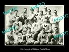 OLD LARGE HISTORIC PHOTO OF THE UNIVERSITY OF MICHIGAN FOOTBALL TEAM c1891