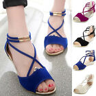 Womens Summer Low Wedge Heel Zip Sandals Ankle Strap Open Toe Gladiator Shoes