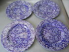 FOUR NWT CHINTZ CHURCHILL ENGLISH CALICO BLUE WHITE FLORAL 8.5 SALAD  PLATES