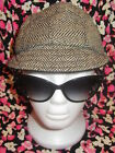 TRACY WATTS NWT 160 medium beige and brown tweed wool cycling cap on