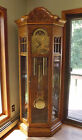 Sligh Bennington Grandfather Clock Aberdeen Oak Curio Cabinet Cable Wound EXC