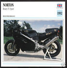 1992 Norton F1 Sport Rotary Engine 588cc Motorcycle Photo Spec Sheet Info Card