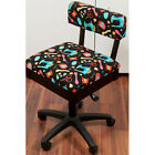 Arrow Hydraulic Sewing Chair in Black with Riley Blake Sewing Machine Fabric
