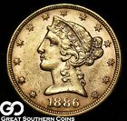 1886 Half Eagle, $5 Gold Indian ** Free Shipping!