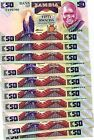 ZAMBIA 50 KWACHA ND(1986-1988) P-28 UNC LOT 10 Pieces (PCS)