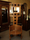 Antique Oak Hall Tree with Brass Arms, Beveled Mirror