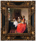 Vermeer The girl with a wine glass Wood Framed Canvas Print Repro 8x10