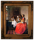 Vermeer The girl with a wine glass Wood Framed Canvas Print Repro 11x14
