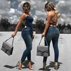 Backless Sleeveless Women New Vintage Bodycon Jeans One PieceJumpsuit Romper