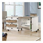 Sewing Table Cabinet Wheels White Arts Crafts Rolling Drop Leaf Compact Hobby