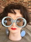Imperfect Austin Powers Groovy Girl Vintage Sunglasses  Earrings on Chain BLUE