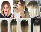 Full Head Real Clip in Human Hair Extensions Ombre Hairpieces Brown Blonde