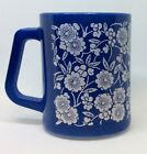 Vintage Federal Milk Glass Mug Cup Blue with White Flowers
