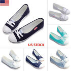 Women Girls Casual Slip On Lace Up Canvas Flat Shallow Slide Loafer Shoes Sports
