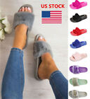 Ladies Women Slip On Faux Fur Slide Slippers Flip Flops Flat Sandal Casual Shoes