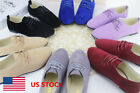 US Women Ladies Lace Up Suede Casual Slip On Walking Shoes Flats Oxfords Loafers