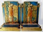 Beautiful ART NOUVEAU BOOKENDS THE KISS by POMPEIAN BRONZE CO NY RARE