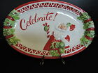FITZ & FLOYD Candy Cane Santa CELEBRATE Sentiment Tray NIB  10