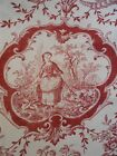 2 vintage French cotton curtain panel Toile de Jouy 19TH-Century for windows