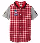 NWT DIESEL Sz10Y BOYS EMBROIDERED PATCHES SHORT SLEEVE PLAID SHIRT CLOUD 65