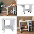 Folding Sewing Desk Table White Rolling Craft Hobby Center Storage Compact Cart