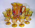 PITCHER Tumbler GOBLET Set IRRIDESCENT Carnival GLASS Harvest Grape MARIGOLD Lot