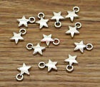 50 Star Charms Tiny Small Star Celestial 2 Sided Charm Antique Silver 14x11 0003