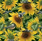 Fabric Wild Birds in Sunflower Field on Green Cotton by the 1 4 yard BIN
