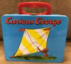 Schylling Curious George Biking Flying A Kite Blue Metal Tin Lunch Box Lunchbox