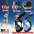Anti Fog Swimming Diving Full Face Mask Surface Snorkel Scuba for GoPro L XL S M