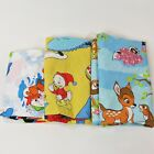 3 Vtg Disney Twin Size Sheets 1 Fitted 2 Flat Bambi Huey Dewey Louie Mickey