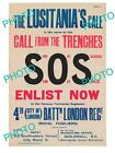 OLD HISTORIC PHOTO OF WWI BRITISH MILITARY POSTER, THE LUSITANIA CALL SOS ENLIST