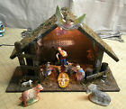 Vintage Christmas Nativity Set Made in Italy 7 attached figures + 3 loose
