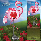 Metal Solar Flamingo Lighted Garden Stake Statue Outdoor Night Light Patio Decor