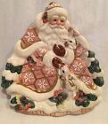 Fitz and Floyd RETIRED Snowy Woods Santa and Bunnies Serving Plate NIB