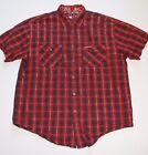 VTG 90s Tommy Hilfiger Jeans Button Up Shirt Short Sleeve Mens M Red B45