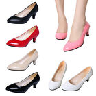 US Ladies Low Mid Kitten Heel Court Work Office Patent Leather Pumps Shoes Size