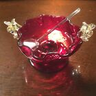 Footed cranberry ruffled glass open salt with spoon and Venetian mica handles