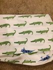 Pottery Barn Kids Green Alligator Blue Lizard Fitted Crib Sheet EUC