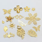 Filigree Gold Metal beads pendants connector for jewelry making multi sizeshape