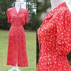 True Vintage Red Floral Dress / The Notebook Vibes / Tea Church Wedding Cocktail