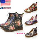 US Women Floral Block Heel Ankle Martin Boots Ladies Flats Sneakers Shoes Size