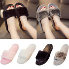 Hot Women Ladies Slip On Sliders Fluffy Faux Fur Flat Slipper Flip Flop Sandal