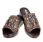 Montana West Embroidered Cushioned Slip on Wedge Sandal Coffee Brown SZ 6 11