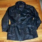 KC Collections Black Leather Coat Jacket Womens Size 1X Tie Front Button Up