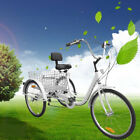White 6 Speed 24 3 Wheel Adult Bicycle Tricycle Cruise Bike with Basket