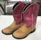 Old West Girls 1938 Youth Pink Brown Leather Cowboy Boots 120 Beige 110