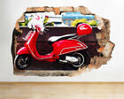 Wall Stickers Moped Motorcycle Cool Bike Smashed Decal 3D Art Vinyl Room G102