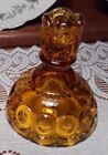 "½"" Pressed Glass Candle Holder. Light Amber."